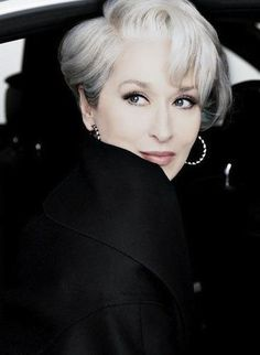 Meryl Streep- this gray hair is coifed perfectly!!  Whenever I go grey, I'd love to have this style and color!  It's so-o gorgeous!