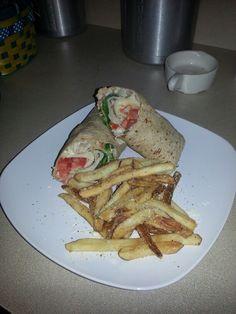 Ranch' n Turkey garden wrap with seasoned garlic parmesan fries