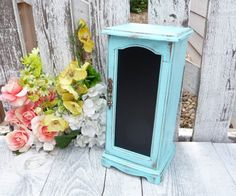 Chalkboard Jewelry Box - Tall Vintage Jewelry Box In Shabby Chic Aqua Blue