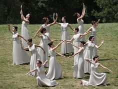 Actresses perform a Greek ancient dance during the lighting ceremony on May 10, 2012, in ancient Olympia, the sanctuary where the Olympic Games were born in 776 B.C.