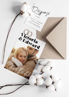 Modern wedding invitation with photo template Modern Wedding Invitations, Wedding Invitation Templates, Printable Invitations, Edit Online, Minimal Wedding, Notes, Wedding Invitation Design