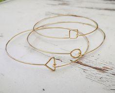 Gold Geometric Bangles.