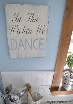 DIY Kitchen Art: In this kitchen we Dance Kitchen Wall Art, Diy Kitchen, Kitchen Decor, Kitchen Rules, Sunflower Kitchen, Cool Kitchens, Rustic Kitchens, Easy Diy Crafts, Wall Signs