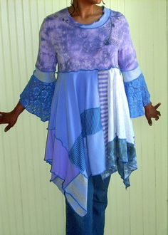 Cool Breeze Tunic, Lilac, Periwinkle and Gray, Size Large (12-14-16) | Flickr - Photo Sharing!