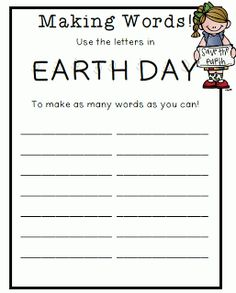 "making words out of ""earth day"""