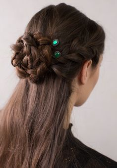 Gorgeous half up side French braided bun styled with Emerald Joy bobby pins from Lilla Rose. Bright green octagon stone surrounded in a lovely black nickel finish.