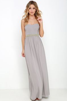 Takes the Cake Taupe Strapless Maxi Dress at Lulus.com...everything about this look is my style.