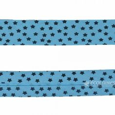 Biais étoiles 20 mm - Bleu Fabric, Fabric Strips, Fabrics, Blue, Tejido, Tela, Cloths, Tejidos
