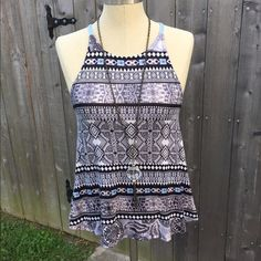 Summer tank, boho feel  Blue and black juniors size medium, could fit a small. flowy tank from wet seal. Never worn it's just been sitting in my closet, racer back! no trades make an offer!✅ oh & follow me on Instagram @BeThriftyChic  Wet Seal Tops Tank Tops