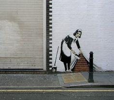 Banksy - England - The Beauty of Stencil Art Stencil Street Art, Stencil Graffiti, Graffiti Artwork, Stencil Art, Graffiti Names, Banksy Graffiti, Bansky, Street Art Graffiti, Illustrations