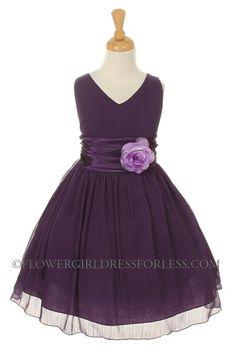 PURPLE- Crepe Dress with Charmeuse Waist Sash - Purple - Flower Girl Dress For Less $50