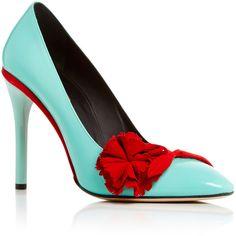Oscar de la Renta Lola Pump in Seafoam Patent Leather featuring polyvore women's fashion shoes pumps heels floral print pumps slip-on shoes floral print shoes slip on pumps flower print pumps