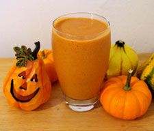 Pumpkin Pie Green Smoothie  1/2 cup organic pumpkin pie mix  1 cup unsweetened, almond milk (or make your own)  1 teaspoon ground cinnamon  1/2 teaspoon nutmeg  1 large carrot, chopped  2 cups fresh baby spinach (or other leafy green)  2 frozen bananas