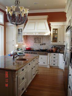 Orange paint in kitchen