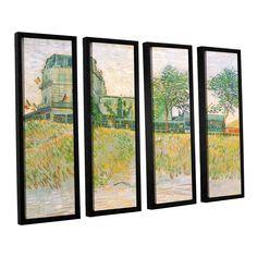 The Restaurant De La Sirene, Asnieres by Vincent Van Gogh 4 Piece Floater Framed Canvas Set