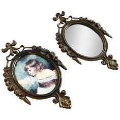 Italian Metal Frame & Mirror Set - A Pair ($38) ❤ liked on Polyvore featuring home, home decor, mirrors, table mirrors, metal framed mirrors, framed mirrors, metal mirror, lightweight mirror and metal home decor