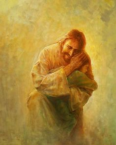 picture of jesus christ holding a small child against his shoulder with a cloudy yellow background Pictures Of Jesus Christ, Jesus Christ Images, Jesus Art, God Jesus, Image Of Jesus, Jesus Christ Lds, Lds Art, Bible Art, Jesus Reyes