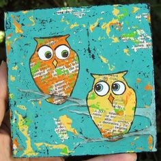 Two Owls Painting Teal Orange Yellow Mixed Media