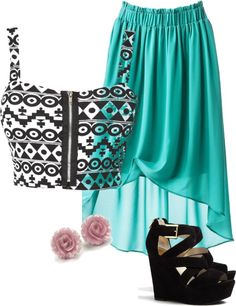 """High Low Skirt and Crop Top"" by caitlinkennedy on Polyvore"