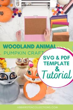 This year, I am delighted to share my Woodland Animal Pumpkins Tutorial in collaboration with Michaels Craft Stores. I crafted these three adorable animals, a fox, raccoon, and deer from felt, iron-on vinyl, and faux pumpkins with the help of my Cricut Maker machine! | Abbi Kirsten Collections #papercrafts #cricut #svg