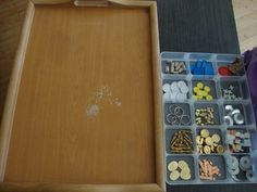 """Using a wooden tray as a 'canvas' for transient art - from Emily Holzknecht ("""",)"""