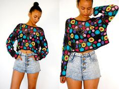 Vtg Cropped Cut Out Crochet Neon Floral Top by LuluTresors on Etsy, $27.99