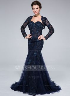 Trumpet/Mermaid Sweetheart Sweep Train Beading Flower(s) Zipper Up Strapless Sleeveless Yes Dark Navy Fall General Plus Tulle Lace Evening Dress