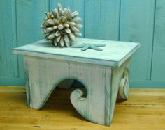 Waves Step Stool Footstool Bench Bright White Turquoise Ocean Beach House Decor by CastawaysHall Beach Cottage Decor, Coastal Decor, Wood Projects, Projects To Try, Beach Crafts, Weathered Wood, Decoration, Painted Furniture, White Furniture