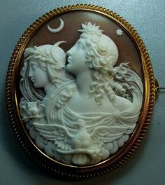 Antique Cameos: old victorian, shell, coral and hardstone cameos, vintage jewellery - Allegory of Day and Night  (Wish I had the money to own this one...)