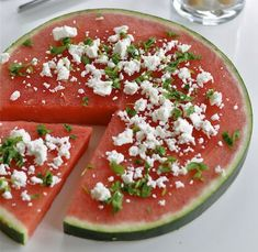 Super simple and perfect for the lazy, hot days of summer: watermelon pizza with feta, balsamic and basil