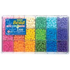 The Beadery Bead Extravaganza 2300 pk Pony Bead Box Soft Rainbow Letter Bead Bracelets, Pony Bead Bracelets, Rainbow Loom Bracelets, Letter Beads, Pony Beads, Summer Crafts For Toddlers, Pony Bead Crafts, Beaded Boxes, Bead Kits