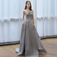Silver gray party dress strapless evening dress satin long prom dress backless formal dress