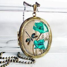 ręczne wykonanie naszyjniki turkusowe kwiaty i ważka - śliczny medalion otwierany na zdjęcia