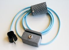 Handcrafted concrete pendant lamp and concrete switch with stylish textile cord.  dark grey + baby blue