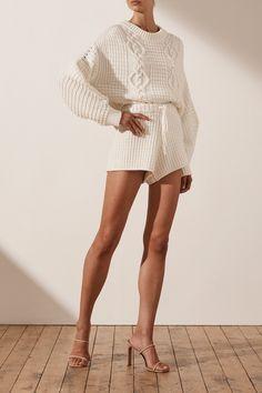 Willow Cocoon Sleeve Cable Jumper | Rice | Knitwear | Shona Joy – Shona Joy International Short Legs, Knit Shorts, Waffle Knit, Cute Tops, Knitwear, Jumper, Mini Skirts, Sleeves, Holiday Sweaters