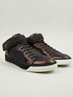 Lanvin Men's Mid-Top Loden Effect Mid-Top Sneakers | oki-ni