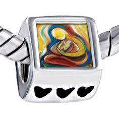 Pugster Warm Mom Baby Heart Beads Fits Pandora Charm Bracelet Pugster. $12.49. It's the photo on the heart charm. Hole size is approximately 4.8 to 5mm. Unthreaded European story bracelet design. Bracelet sold separately. Fit Pandora, Biagi, and Chamilia Charm Bead Bracelets