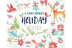 Holiday Watercolor Mega Pack by PaperSphinx on Creative Market