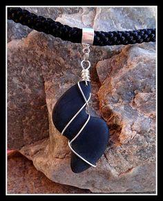 Silver WireWrapped Matte Black SShaped Beach Stone by MaeMonkey, $40.00 #etsy #etsyclimbersteam #MaeMonkey