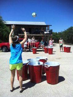 Ultimate beer pong! Use 5 gal buckets