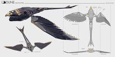 Dune: Ornithopter by Michael Soong : ImaginaryArrakis Spaceship Art, Spaceship Design, Dune Characters, Monster Musume Manga, Dune Frank Herbert, Cyberpunk Kunst, Dune Art, Robot Animal, Arte Sci Fi