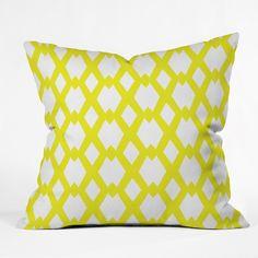 Lisa Argyropoulos Daffy Lattice Lemon Throw Pillow | DENY Designs Home Accessories