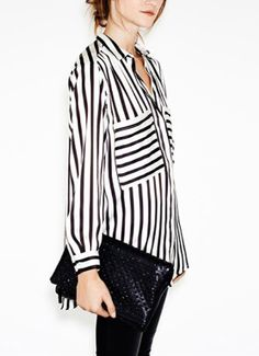 Large Pocket Black And White Striped Chiffon Shirt For Women