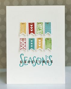 Awesome Christmas card by Jaclyn Miller! Love how she used the banners (stamped and die-cut with stamps and steel dies from TechniqueTuesday.com).