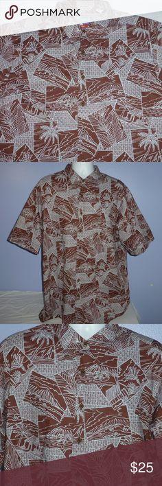 db0500fe Joe Kealoha's Reyn Spooner Hawaiian Shirt XL-Tall Joe Kealoha's Reyn Spooner  Brown Short Sleeve