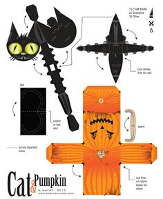 Chemical9: Cat and Pumpkin - Paper toy with printable template
