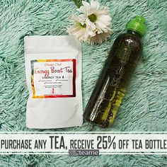 Our quick and Easy, Tea On-The-Go Bottle with our refreshing Energy Boost Tea.  Perfect for you babes always on the go! Don't wait for the the water to boil to drink tea, drink it hot or cold and get all the energy you need! Get yours today & Receive 25% OFF OUT TEA BOTTLE! USE CODE: TEAME Click the link in bio