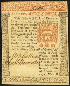 Colonial Currency from the state of Pennsylvania. Signed by Francis Hopkinson who was a signer of the Declaration of Independence. First American Flag, Shakespeare In Love, Gold And Silver Coins, March 20th, Rare Pictures, Rare Coins, American Revolution, Coin Collecting, Pennsylvania