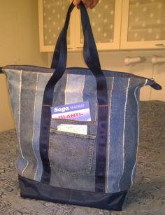 Weekender bag from recycled jeans. Reissukassi vanhoista farkuista - Tuunausta ja tekeleitä