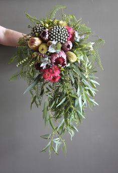 Protea Bouquet by Swallows Nest Farm February Flowers Wedding Cakes With Flowers, Bridal Flowers, Flower Bouquet Wedding, Floral Wedding, Protea Bouquet, Bride Bouquets, Bridesmaid Bouquet, Floral Bouquets, Australian Native Flowers